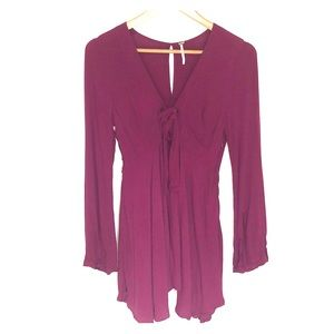 Plum deep v, tie front flowy dress